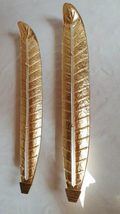 Barovier Toso Pair of tall Murano gold leaf sconces Mid Century Modern Barovier style 1970s - 1323329