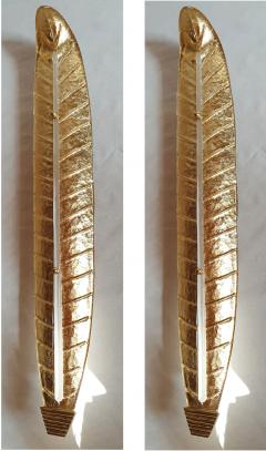 Barovier Toso Pair of tall Murano gold leaf sconces Mid Century Modern Barovier style 1970s - 1323339
