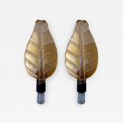 Barovier Toso Pr Italian Modern Amber Glass Bronze Leaf Form Wall Lights Barovier and Toso - 1164092