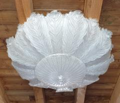 Barovier Toso Very Large Mid Century leaf Murano glass flush mount by Barovier Italy 1970s - 1603930