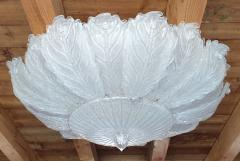Barovier Toso Very Large Mid Century leaf Murano glass flush mount by Barovier Italy 1970s - 1603932