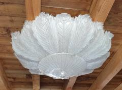 Barovier Toso Very Large Mid Century leaf Murano glass flush mount by Barovier Italy 1970s - 1603933