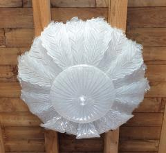 Barovier Toso Very Large Mid Century leaf Murano glass flush mount by Barovier Italy 1970s - 1603936
