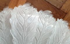 Barovier Toso Very Large Mid Century leaf Murano glass flush mount by Barovier Italy 1970s - 1603940