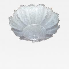 Barovier Toso Very Large Mid Century leaf Murano glass flush mount by Barovier Italy 1970s - 1605296
