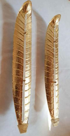 Barovier Toso XL Leaf shape gold Murano glass Mid Century sconces Barovier style Italy 1970s - 2132112
