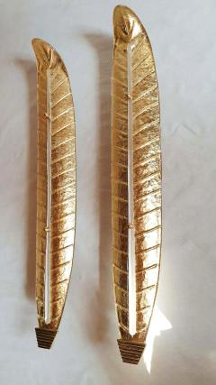 Barovier Toso XL Leaf shape gold Murano glass Mid Century sconces Barovier style Italy 1970s - 2132113