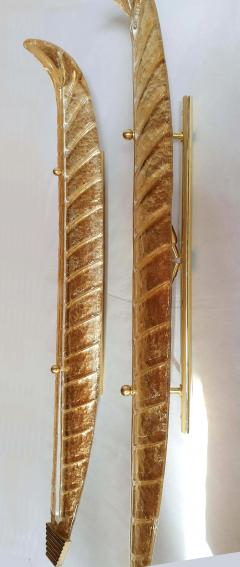 Barovier Toso XL Leaf shape gold Murano glass Mid Century sconces Barovier style Italy 1970s - 2132115