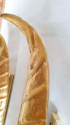 Barovier Toso XL Leaf shape gold Murano glass Mid Century sconces Barovier style Italy 1970s - 2132118