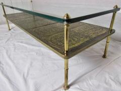 Beacon Hill Midcentury Brass Cast Bronze Plaques and Glass Coffee Table Beacon Hill 1960s - 572428
