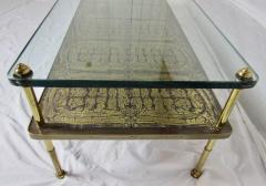 Beacon Hill Midcentury Brass Cast Bronze Plaques and Glass Coffee Table Beacon Hill 1960s - 572430
