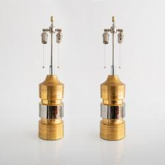 Bergboms Pair of Gold and SIlver Ceramic Lamps Bitossi for Bergboms - 591181