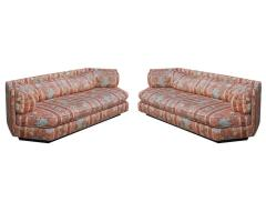 Bernhardt Furniture Company Matching Pair of Hexagonal Mid Century Modern Sofas by Bernhardt Plinth Bases - 1749400