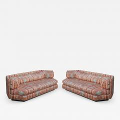 Bernhardt Furniture Company Matching Pair of Hexagonal Mid Century Modern Sofas by Bernhardt Plinth Bases - 1750371