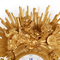 Bertoud Large gilt bronze antique French cartel clock by Bertoud - 1493995