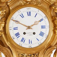 Bertoud Large gilt bronze antique French cartel clock by Bertoud - 1493996