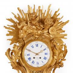 Bertoud Large gilt bronze antique French cartel clock by Bertoud - 1494013
