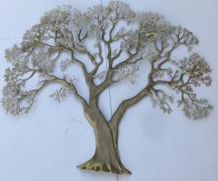 Bijan Huge Brass Tree Wall Sculpture - 990073