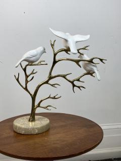 Bijan SIGNED BIJAN CERAMIC BIRDS AND BRASS TREE SCULPTURE - 1201217