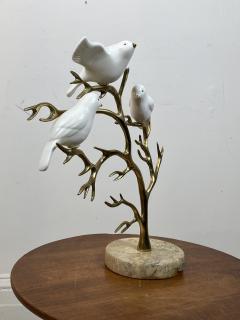Bijan SIGNED BIJAN CERAMIC BIRDS AND BRASS TREE SCULPTURE - 1201219