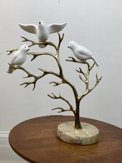 Bijan SIGNED BIJAN CERAMIC BIRDS AND BRASS TREE SCULPTURE - 1201221