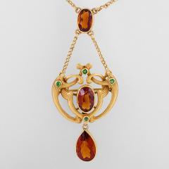 Bippart Griscom Osborn Art Nouveau Pendant Necklace with Citrine and Demantoid Garnet - 1068344