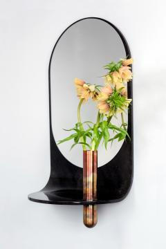 Birnam Wood Studio Dark Stone Wall Mirror with Integral Vase and Shelf by Birnam Wood Studio - 1102823