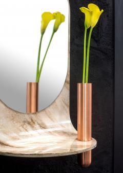 Birnam Wood Studio Dark Stone Wall Mirror with Integral Vase and Shelf by Birnam Wood Studio - 1102859
