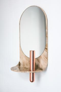 Birnam Wood Studio Dark Stone Wall Mirror with Integral Vase and Shelf by Birnam Wood Studio - 1102860