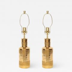 Bitossi Bitossi Incised 22 Karat Gold Glazed Lamps - 1902059
