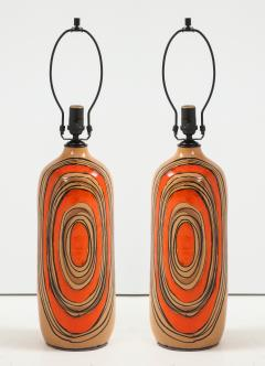 Bitossi Bitossi Modernist Orange Glazed Ceramic Lamps - 1108775