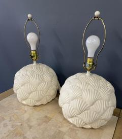 Bitossi Italian White Ceramic Pair of Table Lamps with a Seashell Motif Mid Century - 1939558