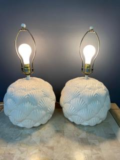 Bitossi Italian White Ceramic Pair of Table Lamps with a Seashell Motif Mid Century - 1939560