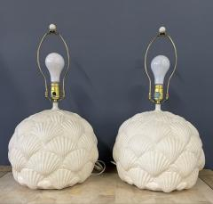 Bitossi Italian White Ceramic Pair of Table Lamps with a Seashell Motif Mid Century - 1939570