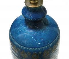 Bitossi Large 1960s Bitossi Pottery Cerulean glazed Lamp with Gilt Decoration - 1943069