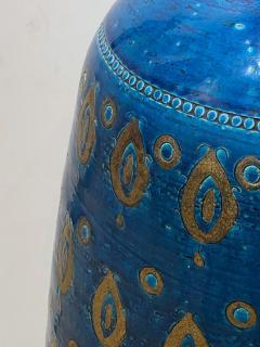 Bitossi Large 1960s Bitossi Pottery Cerulean glazed Lamp with Gilt Decoration - 1943070