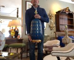 Bitossi Large 1960s Bitossi Pottery Cerulean glazed Lamp with Gilt Decoration - 1943078