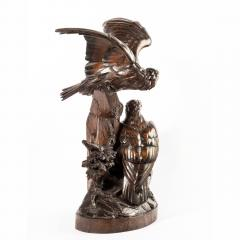 Black Forest linden wood carving of a pair of falcons - 823666