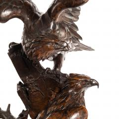 Black Forest linden wood carving of a pair of falcons - 823669