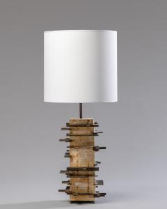 Blend Roma Brutalist handcrafted table lamp in plaster concrete and metal Italy 2020  - 1995482