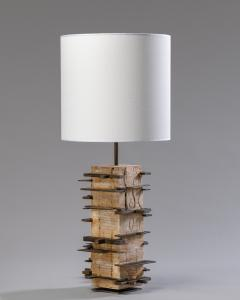 Blend Roma Brutalist handcrafted table lamp in plaster concrete and metal Italy 2020  - 1995495