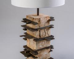 Blend Roma Brutalist handcrafted table lamp in plaster concrete and metal Italy 2020  - 1995496