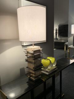 Blend Roma Brutalist handcrafted table lamp in plaster concrete and metal Italy 2020  - 1995501