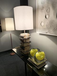 Blend Roma Brutalist handcrafted table lamp in plaster concrete and metal Italy 2020  - 1995503
