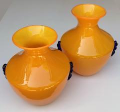 Blenko Glass Co A Rare Pair of Blenko Orange Glass Vases with Applied Cobalt Decoration - 651834