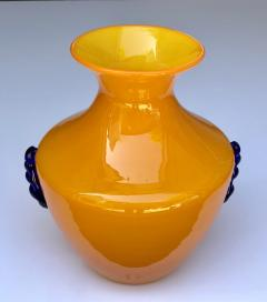 Blenko Glass Co A Rare Pair of Blenko Orange Glass Vases with Applied Cobalt Decoration - 651836