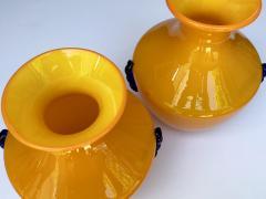 Blenko Glass Co A Rare Pair of Blenko Orange Glass Vases with Applied Cobalt Decoration - 651846