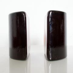 Blenko Glass Co BLENKO Art Glass Half Moon Bookends Dark Amber Midcentury Modern WV - 1607411