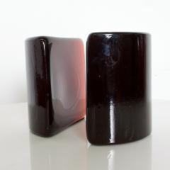 Blenko Glass Co BLENKO Art Glass Half Moon Bookends Dark Amber Midcentury Modern WV - 1607413