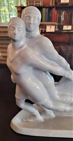 Boch Fr res Keramis Co Belgian Art Deco Charles Catteau BFK Ice Skater Sculpture - 1795638